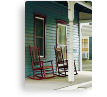 Wooden Rocking Chairs on Porch Canvas Print
