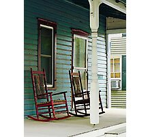 Wooden Rocking Chairs on Porch Photographic Print