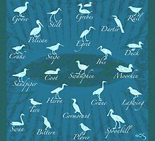 Shorebirds Silhouette - blue - tote/pillow by 40degreesSouth