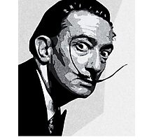 Salvador Dali Black Portrait Photographic Print