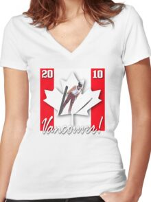 ski games vancouver Women's Fitted V-Neck T-Shirt