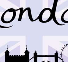 London Script on Union Jack Sky & Sites Purple Sticker
