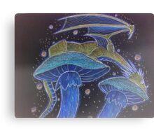 Dragon napping on mushrooms Canvas Print