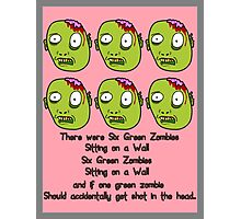 Six Green Zombies Sitting on a Wall, by Chillee Wilson Photographic Print