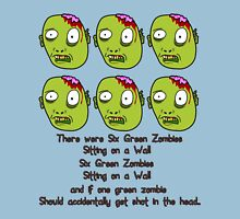 Six Green Zombies Sitting on a Wall, by Chillee Wilson Unisex T-Shirt