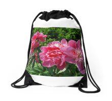Peony flowers Drawstring Bag