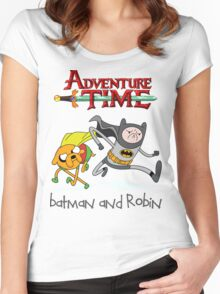 Adventure Time Batman and Robin Women's Fitted Scoop T-Shirt