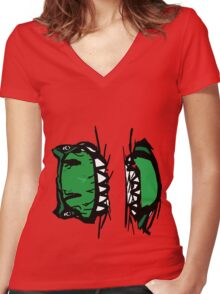 Beware Of The T-Rex Women's Fitted V-Neck T-Shirt