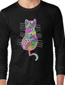 cats are love, cats are life (colours) Long Sleeve T-Shirt