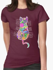 cats are love, cats are life (colours) Womens Fitted T-Shirt