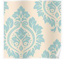Decorative Damask Art I Blue on Cream Poster