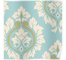 Decorative Damask Art I Cream & Gold on Blue Poster