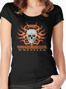 skull flame tatoo Women's Fitted Scoop T-Shirt