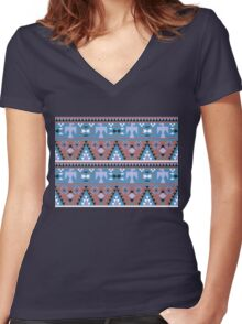Native American Eagle - Blue Women's Fitted V-Neck T-Shirt