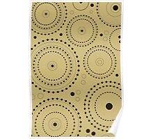 Circles in Circles Design Black on Light Gold Poster