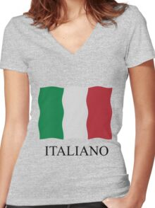 Italiano flag Women's Fitted V-Neck T-Shirt