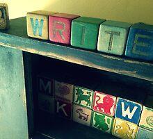 Antique children's blocks, WRITE by Papergreat