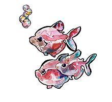 Pink Fish with Bubbles Watercolor by jenthetracy