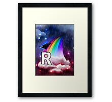 R is for Rain, Rainbow, Raven Framed Print