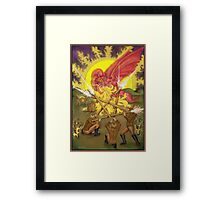 Dragon Fight - Five of Wands Tarot Framed Print