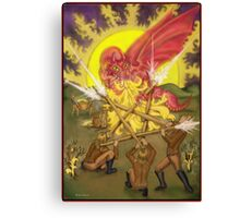 Dragon Fight - Five of Wands Tarot Canvas Print