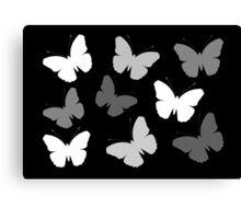 Monochrome Butterflies Canvas Print