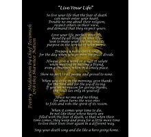 """Live Your Life""  Golden feather by Chief Tecumseh Photographic Print"