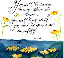 Encouraging verse yellow daisy art design by Melissa Goza