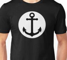 Black anchor inside white circle Unisex T-Shirt