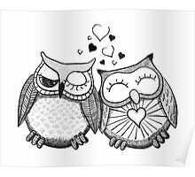 Cute black and white owl couple Poster