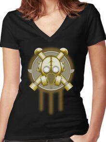 Art Deco Gasmask Trinity Women's Fitted V-Neck T-Shirt