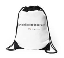Copyright is for Losers - Black Drawstring Bag