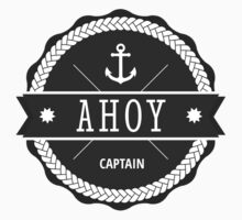 AHOY Captain Badge with anchor by Fuchs-und-Spatz
