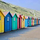 Beach huts at Whitby by Ray Clarke
