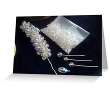 Needles and pins....making of a crystal necklace.(Quick challenge Entry) Greeting Card