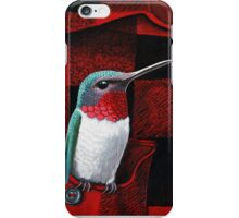 RubyThroated Hummingbird on Plaid - oil painting iPhone Case/Skin