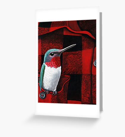 RubyThroated Hummingbird on Plaid - oil painting Greeting Card