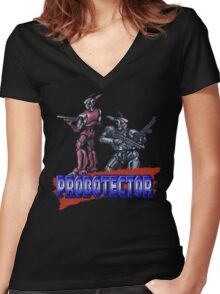 Probotector - SNES Title Screen Women's Fitted V-Neck T-Shirt