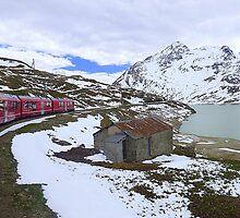Bernina Train on the Bernina Pass..  by Lilian Marshall