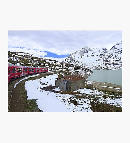 Bernina Train on the Bernina Pass..  Photographic Print