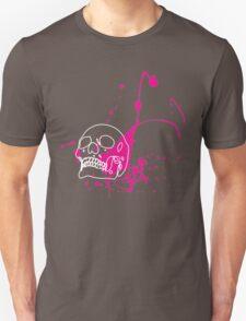 Skull Splash - White Skull with Magenta Splatter  Unisex T-Shirt