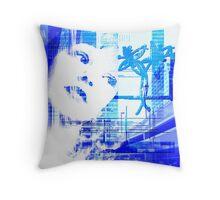 Blue city life Throw Pillow