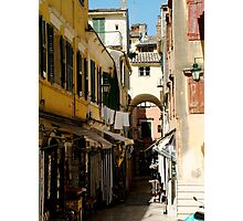 Shops in Corfu, Greece Photographic Print