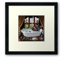 Bunny Bubble Bath Framed Print