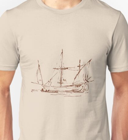 Sketch of a Sailboat - Brown Unisex T-Shirt