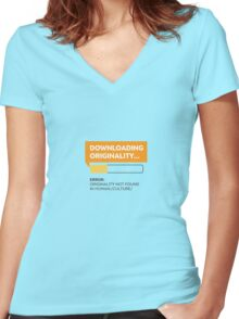 Downloading Originality Women's Fitted V-Neck T-Shirt