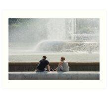 At The Fountain Art Print