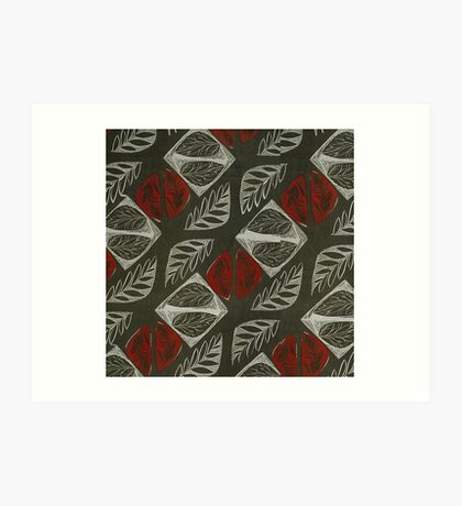 Vintage Floral Grey and Red Fabric Pattern Art Print