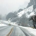 Driving in the Snow through Blacksmith Fork Canyon by Jan  Tribe