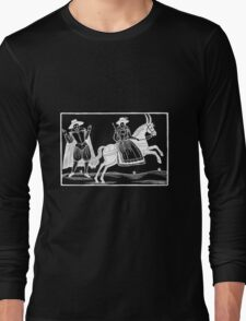 The Devil and the Maiden woodcut - White on Dark Long Sleeve T-Shirt